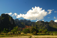 Qing dynasty watercolor - redux : ) (pranav_seth) Tags: trees clouds watercolor landscape backpacking laos ching vangvieng dynasty montains vang vieng criticismwelcome lanexiang