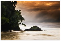 Stormy Monday  (Alfredo11) Tags: trees sunset sea sky orange plants naturaleza sun seascape motion black verde green texture textura sol beach nature water colors yellow fog clouds atardecer grey gris golden mar moss agua costarica rocks plantas waves colours arboles negro oleaje playa paisaje colores movimiento amarillo cielo nubes alfredo vegetation hazy capture neblina tones naranja olas niebla rocas dorado vegetacion captura tonos olage nikond300 anieblado