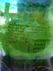 A jar of memory verses (Lydie's) Tags: colour macro green glass words text letters jar bible scriptures verses typed
