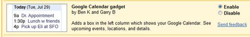 Google Calendar Gadget in GMail