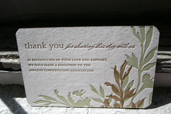 Letterpress wedding favor card - Amazon Conservation Association - printed by Smock