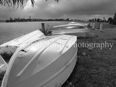 Tinnies at Marks Point (Life with Jordy) Tags: boats blackwhite overcast australia wideangle rainy newsouthwales jordy lakemacquarie tinnies panasonicdmcfz30 petejordan markspoint lifewithjordy