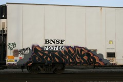 Atomick (quiet-silence) Tags: railroad art by train graffiti stamp railcar icicle graff msg freight bnsf stamped reefer tsc rtd atomik fr8 bnsf793766