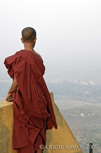 novice monk on the mount popa summit