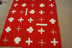 Swiss Flag Quilt Progress