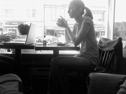 girl, coffee, cafe, thinking, brooding