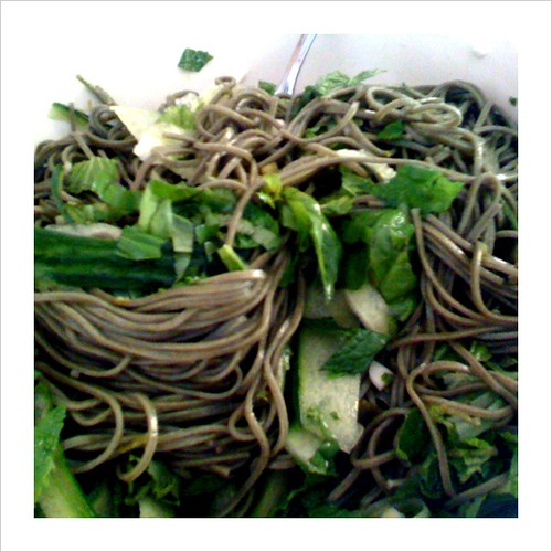 finished product: soba salad with cucumbers, basil, and mint. delicious & easy!