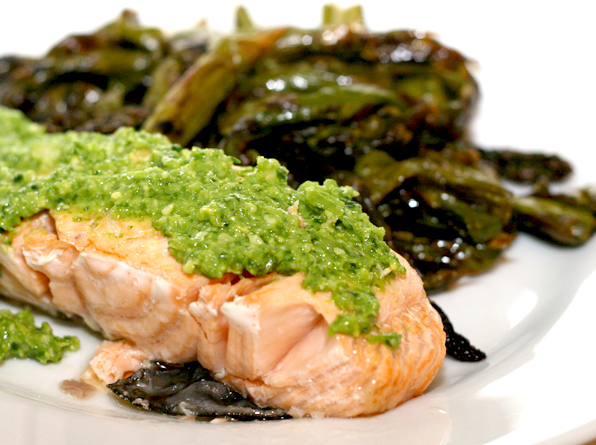 Salmon with ramp pesto