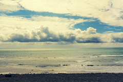 The White Horses Are Waiting For Me (Michelle in Ireland) Tags: blue sea sky water clouds coast waves bank shore wexford rockybeach irishsea feelingdown wexfordcoast irishcoast
