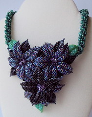 Moonlit Bloom Beaded Art Necklace (fivefootfury) Tags: flower floral moonlit blooms darkforest darkflowers