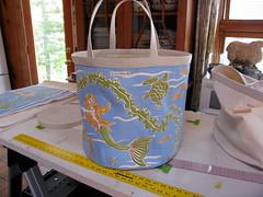 The Mermaid & the Sea Bucket Tote (willywaw) Tags: ocean beach mermaid seaturtle tote hemp organiccottoncanvas