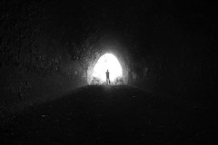 Explore The Tunnel (geeo123) Tags: white black contrast standing interesting alone tunnel bot blackwhitephotos