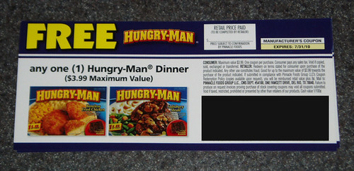 grocery coupons. Hungry-Man coupons.