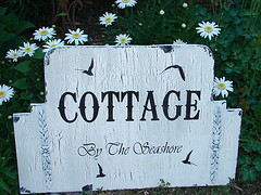 Cottage Sign By The Seashore (familyattic52) Tags: wood wedding signs vintage cottage aged custom distressed chippy familyattic