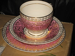 ARKLOW IN THE ATTIC (daisyladybird) Tags: china pink ireland irish home cup kitchen set vintage gold tea drink antique plate retro pottery trio saucer arklow