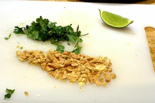 cilantro, peanuts, lime