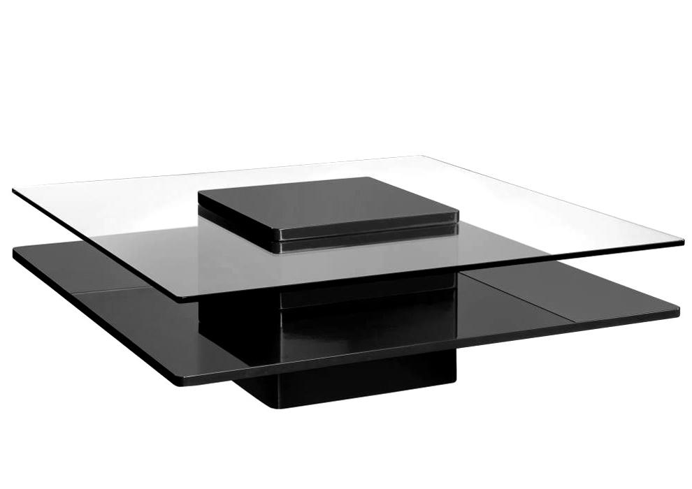 Table basse brenton design verre laque noir neuf - Table basse laque noir ...