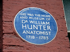 Photo of William Hunter blue plaque