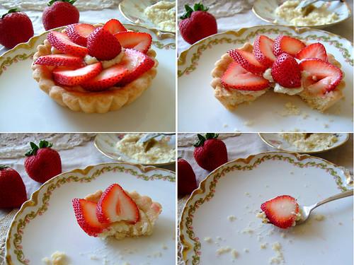 Muerbetoertchen mit Erdbeeren
