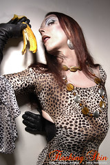 karen chessman:portrait as drag queen in leopard dress with a banana....photo:Flashingskin.com london uk may 2011 (Karen Chessman: In Trans Umbraculis Fetish Luminis) Tags: france mannequin fashion fetish photography high model glamour dress top moda karen tgirl transgender gloves leopard tranny transvestite glam trans dragqueen fashionista transexual mode diva crossdresser kinky modele elegance glamorous cuero cuir fetisch travesti chessman gants transexuelle transgenre redhairs karenchessman flashingskin