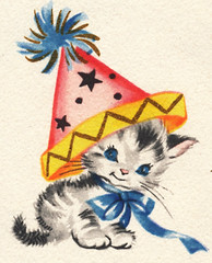 Vintage illustration kitten with party hat (B-Kay) Tags: party hat illustration vintage kitten invitation card 1950s greeting