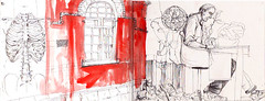 Ribcage, Wall, Guy Reading (robert scholten) Tags: red brick art window wall pen landscape skeleton sketch drawing sketchbook ribs robertscholten