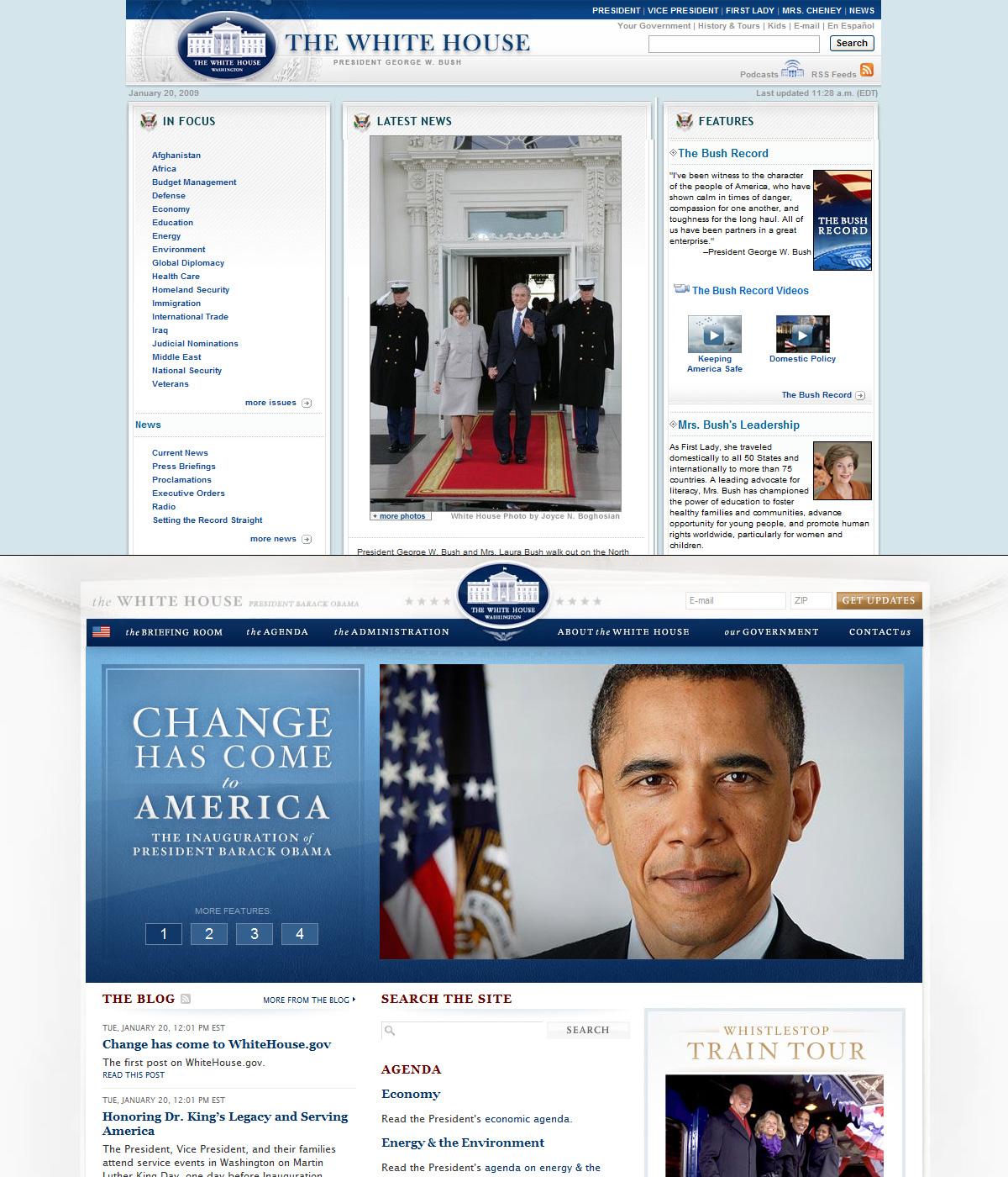 Washington.gov Before and After Web Design Barack Obama