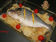 Dorada al horno-con patatas