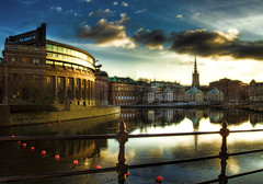 One Evening in Stockholm (darth_bayne) Tags: water clouds canon buildings 350d evening sweden stockholm eveningsun 70300mm hdr mlaren riddarholmskyrkan riksdagshuset helgeandsholmen riddarholmenchurch handheld3xp theperfectphotographer strmgatan