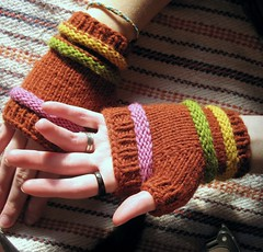 (vanessayavonne) Tags: pink green me yellow hand handmade fingers knit gloves wrist rib warmer mitts fingerless purl burntsienna