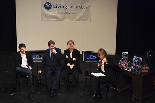 Eli Pariser, Michael Lux, Gara LaMarche and Laura Flanders during the discussion II