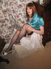 Bleary eyed and ready for bed........ (Julie Bracken) Tags: old red portrait fashion hair tv cd mini skirt crossdressing tgirl transgender mature tranny transvestite pantyhose crossdresser crossdress tg trannie mtf travesti m2f feminized enfemme xdresser tgurl feminised transsister julieb85