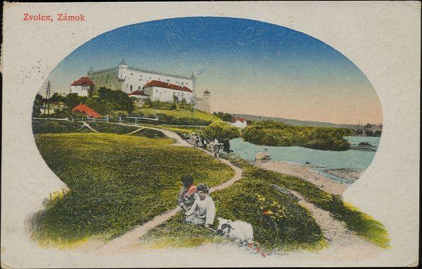 Pohľadnica Zvolen zámok okolo roku 1920