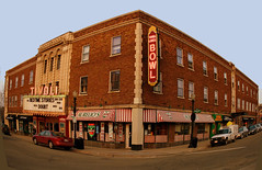 Tivoli (Mickey B. Photography) Tags: street building brick sign truck movie marquee hotel tivoli illinois alley theater grove bowl fisheye pizza bowling delivery downers aurelios