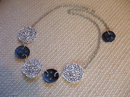 Black + White Handmade Button Link Necklace