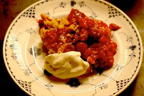 Plum Crumble with Creme Fraiche