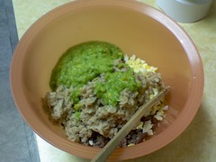 0402091443 (kaosfreak@rocketmail.com) Tags: corn oatmeal hamburger eggs peas cottagecheese doggydinner