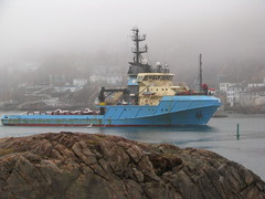 Maersk Placentia in the Narrows (visual guy) Tags: canada fog newfoundland boat sails stjohns vessel tugboat atlanticocean thenarrows views200 newfoundlandlabrador maerskplacentia offshoresupply