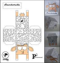 SMOCHORELLA [SambuToys] (samburubrica) Tags: paper toy toys sheep craft lingua cubo papercraft pecorelle papertoy pecorella mocio cubico