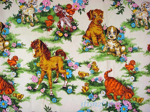 Cute Vintage 60s Baby Animals HOT Pink Daisy Drapery Fabric