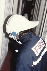 Yours truly wearing a prototype combined helmet, life support and HUD communications fireman's helmet. (john durrant) Tags: prototype hud communications lifesupport firemanshelmet