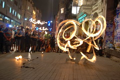 Fever on me baby! =) (Evrém) Tags: show light people night turkey fire istanbul taksim beyoğlu