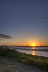 Sunset Bridge (Mortarman101) Tags: river hdr mersey runcorn widnes halton manchestershipcanal runcornbridge wiggisland theunforgettablepictures