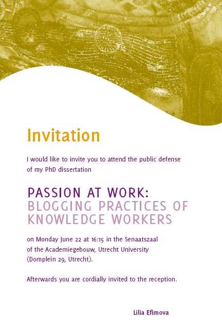 Invitation for the PhD defense: 22 June, Utrecht