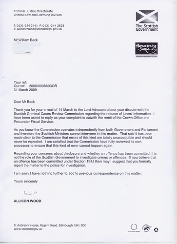 Allison Wood Re, Lord Advocate Letter
