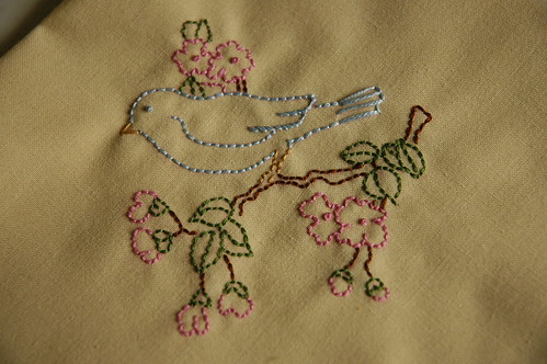 Vintage Bird Embroidery with Cherry Blossoms