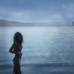 Mist on Lake (Leah Johnston) Tags: portrait woman moon mist lake selfportrait girl fog female swimming self dawn leah fineart johnston pennsylvannia selfportraitartist leahjohnson leahjohnston artisawoman leahjohnstonphotography leahjohnsonphotography leahjohnstonphotos