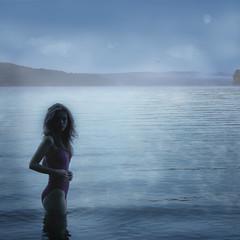Mist on Lake (Leah Johnston) Tags: portrait woman moon mist lake selfportrait girl fog female swimming self dawn leah fineart johnston pennsylvannia selfportraitartist leahjohnson leahjohnston artisawoman leahjohnstonphotography leahjohnsonphotography leahjohnstonphotos