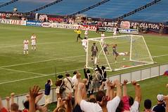 Steve Ralston celebrates his goal
