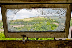 Shattered View (GaryJS ™) Tags: uk light england urban english mill abandoned industry window glass landscape drums industrial ray view unitedkingdom britain decay explore credit works disused smashed dye derelict crunch shaft huddersfield vats urbex recession longfield linthwaite wwwgaryjsphotographycouk